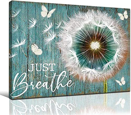 FADALO ART Large Rustic Canvas Wall Art Turquoise Dandelion Butterflies Art Prints Just Breathe Quotes Poster Country Style Wall Decor Framed Wood Farmhouse Home Decor Picture