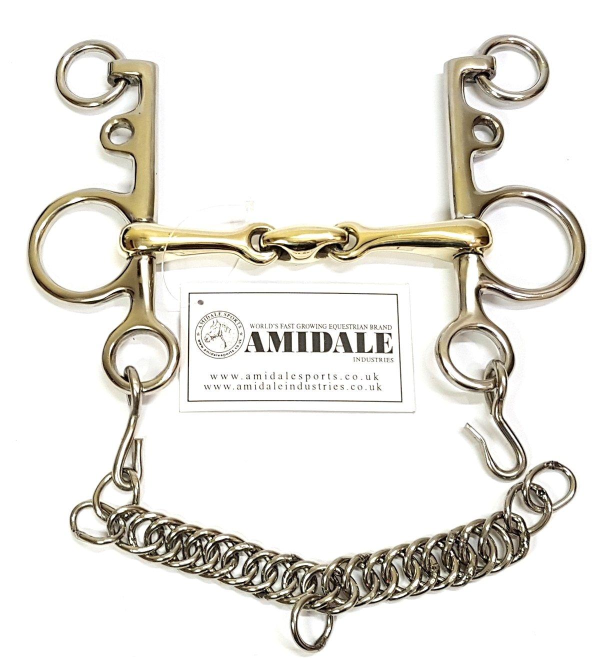 Amidale Mouth Pelham Double Jointed Lozenge Copper Mix Horse Bit Sports