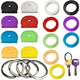 20Pcs Coloured Rubber Key Cover Assorted Head Covers ID Tag Cap Keyring Durable