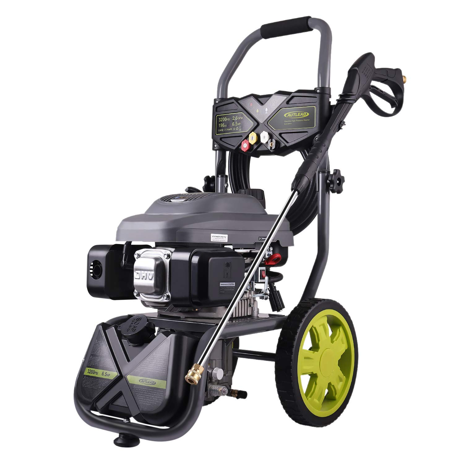 AUTLEAD Gas Pressure Washer, 3200 PSI 2.6 GPM with 6.5 HP, High-Pressure Washer Cleaner Powered by 196cc Engine, 4 Nozzles and 3L Detergent Tank, GSH02A