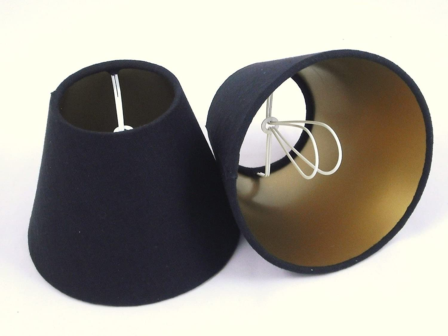 6 Candle Lampshade Handmade in UK - Black Linen with Gold Lining ...