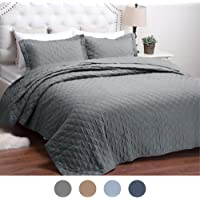Bedsure Quilt Set Solid Grey Full/Queen Size Bed