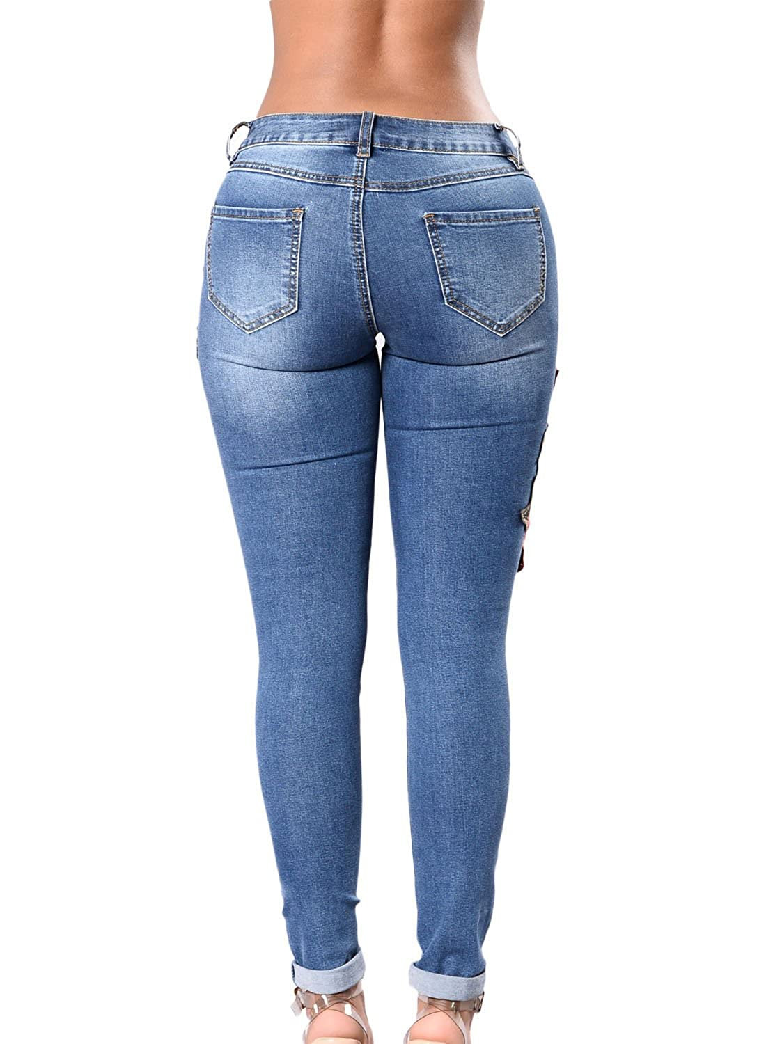 9df0af42768abf Lady Swain Women's Denim Rose Embroidered Destroyed Frayed Hem Skinny Jeans  Hole Jeans For Women at Amazon Women's Jeans store