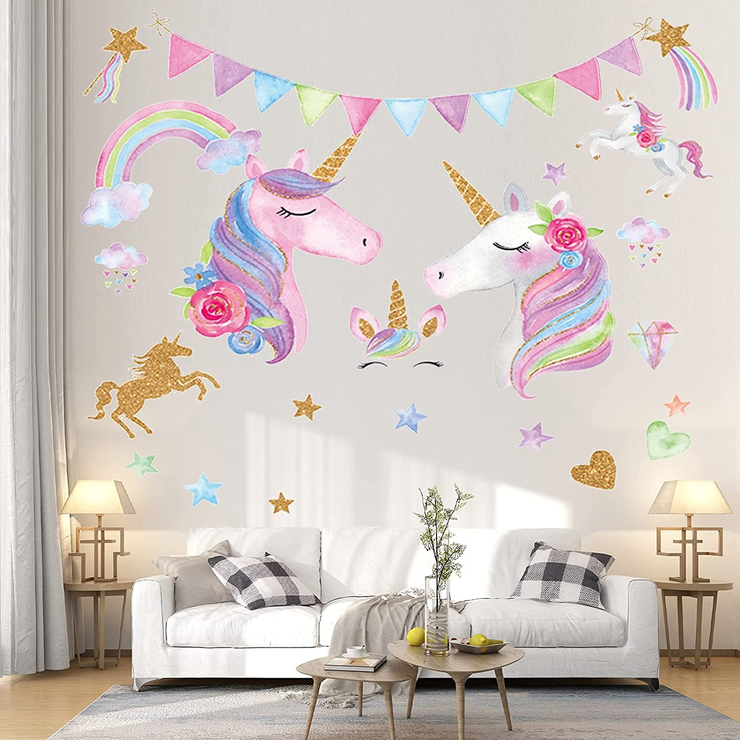 4 Sheets Unicorn Wall Decals Removable Unicorn DIY Wall Stickers Unicorn Wall Decor Home Decor Girls Kids Nursery Room Bedroom Decor Living Room Decor Party Decoration