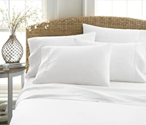 6-Piece Bed Sheet Set by ienjoy Home Collection - 100% Ultra-Soft Microfiber bedding - Deep Pockets for Oversized Mattresses - Wrinkle Free - Queen, White
