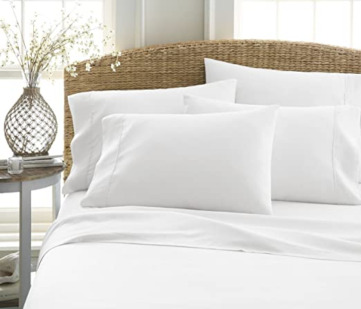 Deep Pockets for Oversized Mattresses 6-Piece Bed Sheet Set by ienjoy Home Collection White 100/% Ultra-Soft Microfiber bedding California King Wrinkle Free