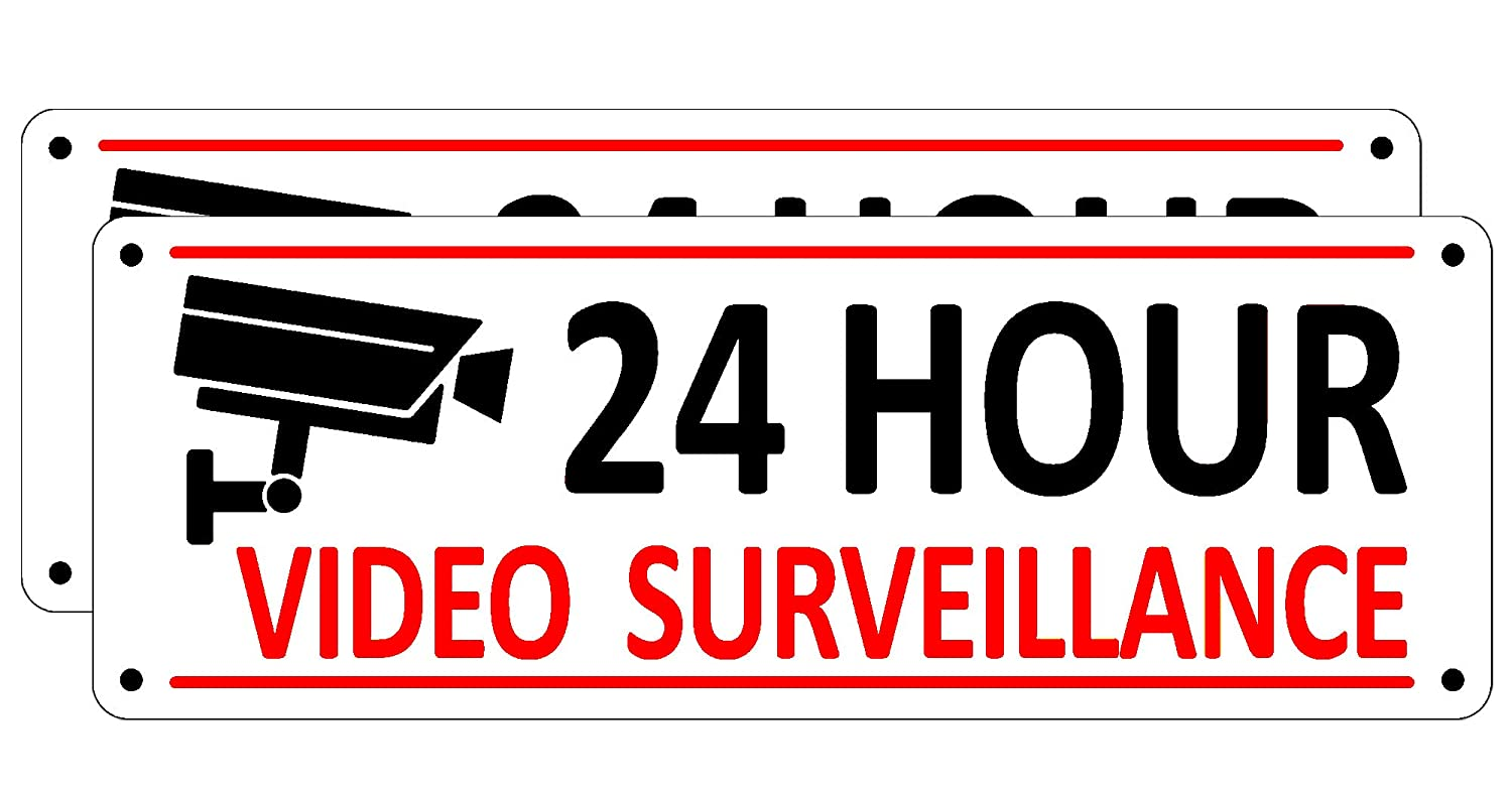 (2 Pack) Video Surveillance Sign, Home Security Signs for House Yard, 10 x 3.5 inches Metal Camera Warning Signs Outdoor, 24 Hour Reflective Aluminum CCTV Sign for Business Fence