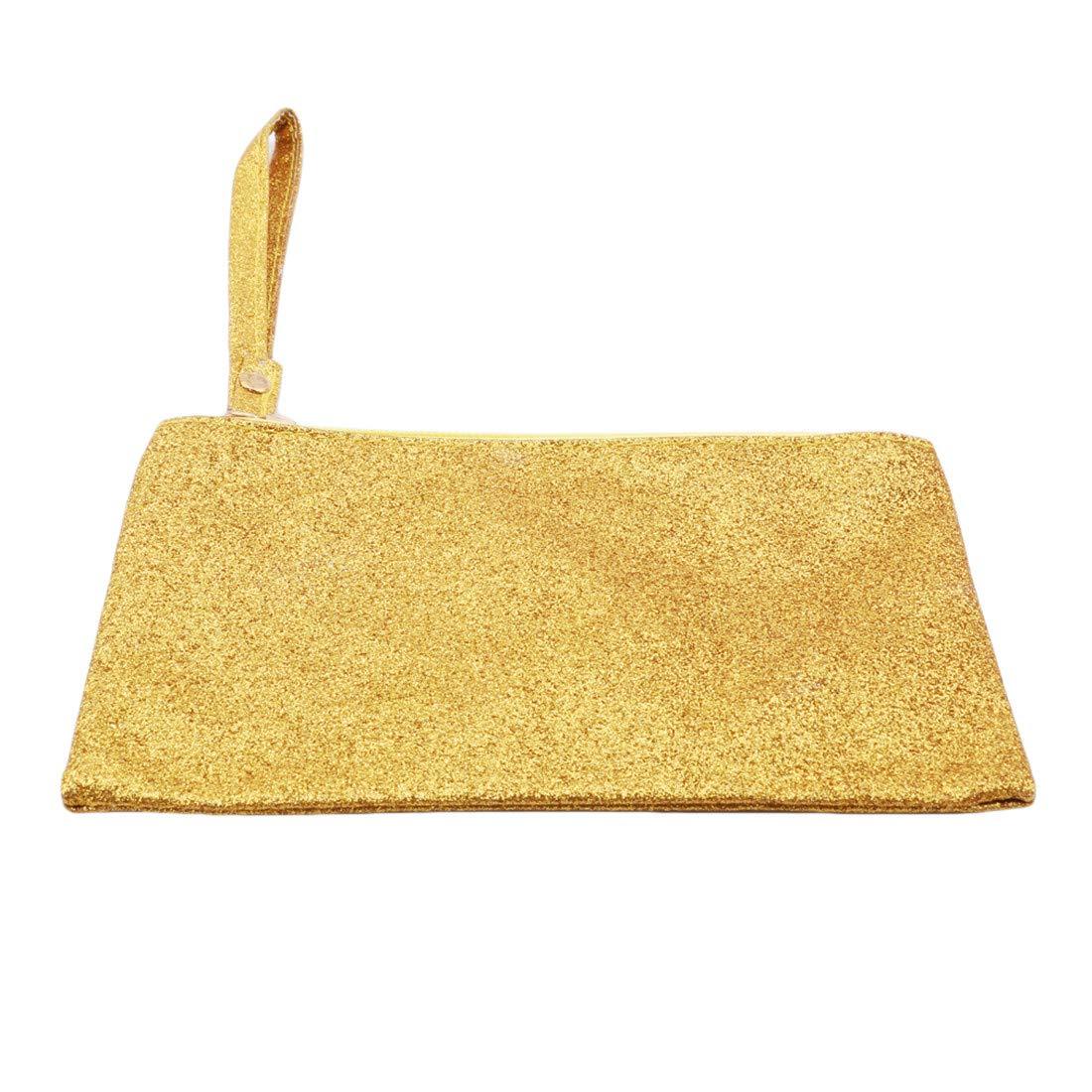 VWH Men Women Wallets PU Bag Zipper Small Mini Clutch Phone Wristlet Party Handbag(Gold)