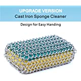 Cast Iron Cleaner, Stainless Steel Chainmail Scrubber for Cast Iron Pan Pre-Seasoned Pan Dutch Ovens Waffle Iron Pans Cast Iron Grill Skillet Scraper. Upgrade Version Design for Easy Holding.