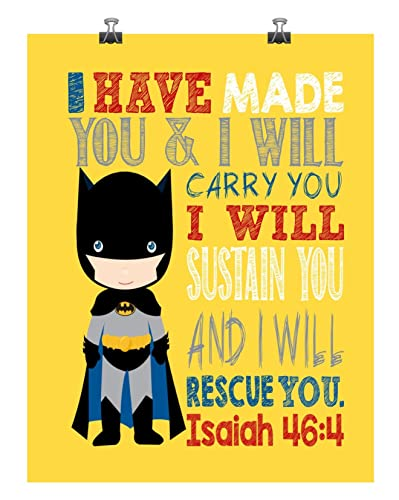 Amazon.com: Batman Christian Superhero Nursery Decor Wall Art Print ...