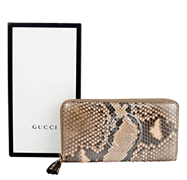 ef9a72b65a Image Unavailable. Image not available for. Color: Gucci Interlocking G  Brown Python Leather Snack Zip Around Wallet ...