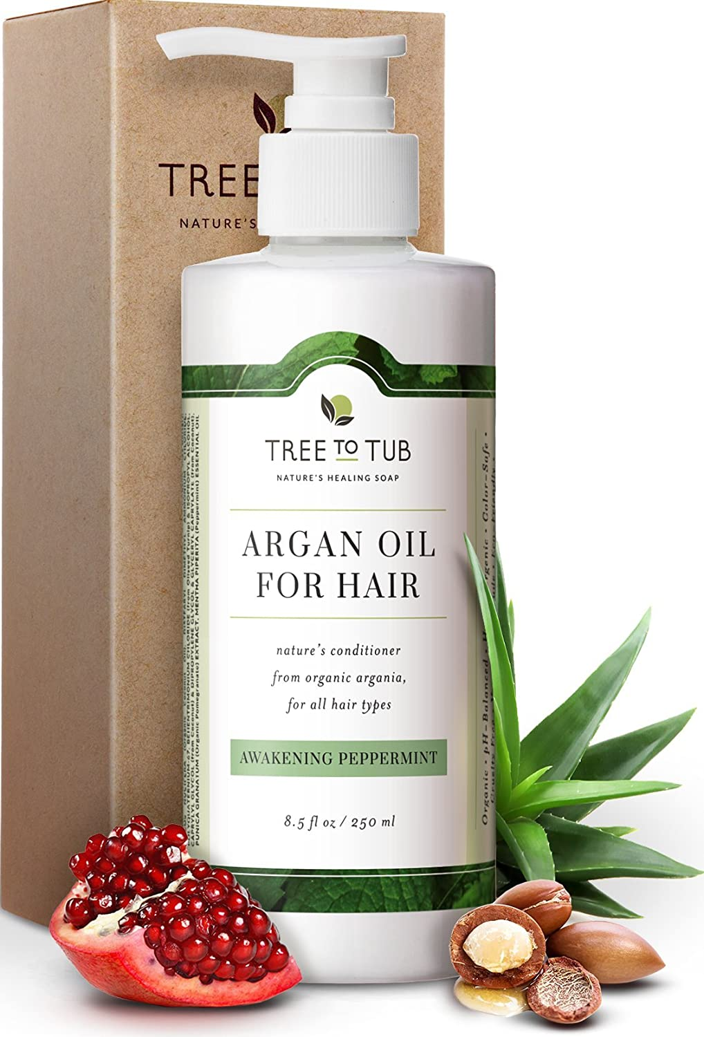 Moisturizing Argan Oil Conditioner by Tree To Tub - pH 5.5 Balanced Hydrating Hair Conditioner for Soft, Shiny Hair and Calm Scalp with Organic Coconut Oil, Mint Essential Oil 8.5 oz