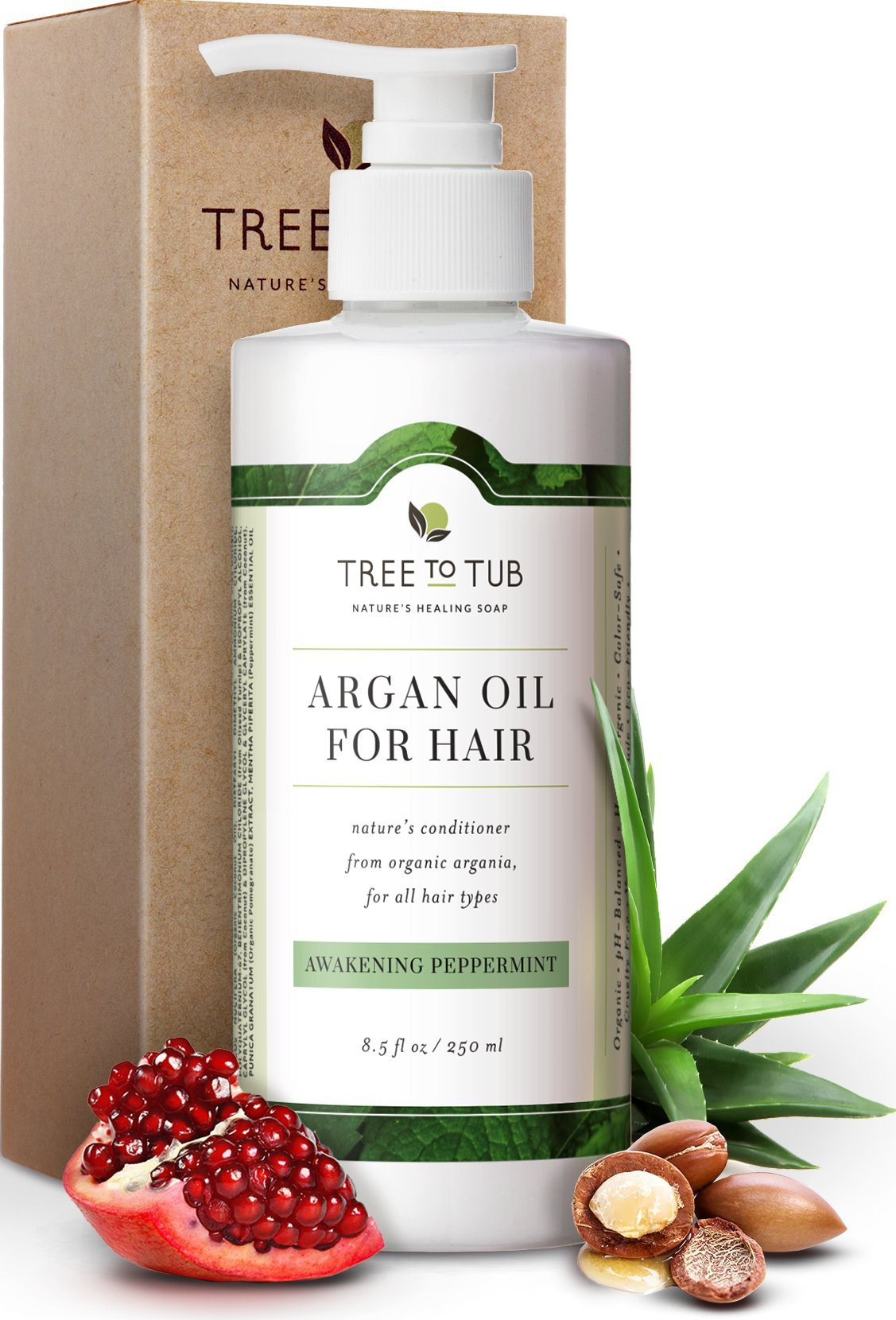 Organic Argan Conditioner for Dandruff and Oily Hair. The Only pH 5.5 Balanced Peppermint Deep Conditioner for Damaged Hair and Sensitive Scalp with Wild Soapberries, 8.5 oz—by Tree To Tub