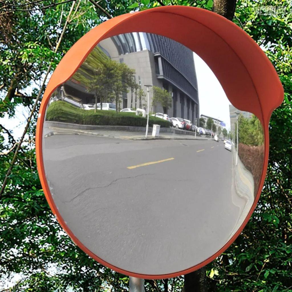 Convex Traffic Mirror PC Plastic Orange 18'' Outdoor Traffic Mirror Convex Mirror Featuring a Built-in Sun Shade/rain Cover