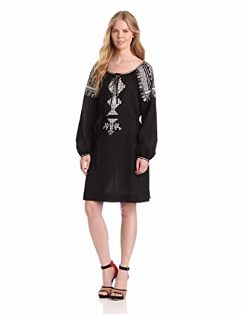 BCBGMAXAZRIA Women's Amber Embroidered Peasant Dress, Black Combo, X-Small