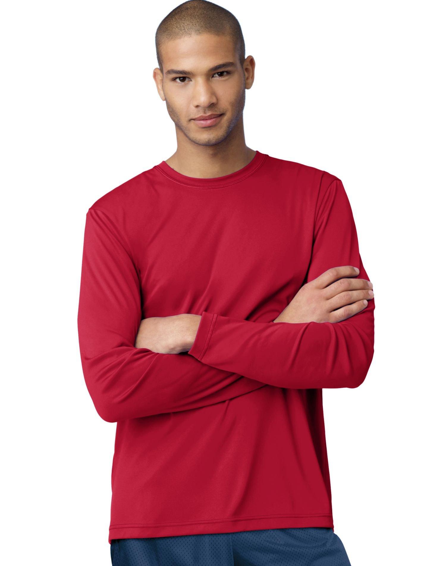 Hanes Adult Cool Dri Long Sleeve Performance Tee, Deep Red, X-Large