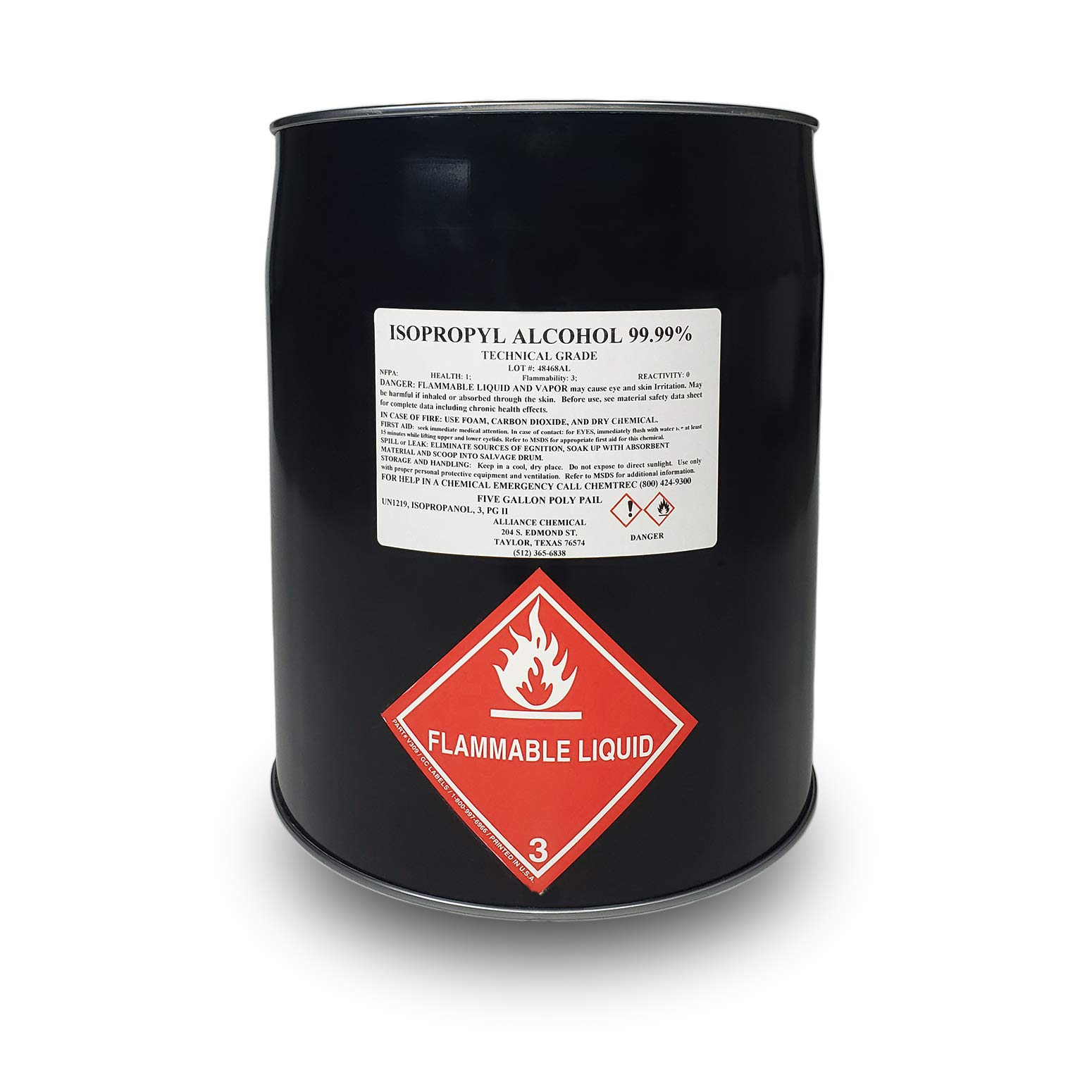 Isopropyl Alcohol 99.99% Technical Grade, 5 Gallon Pail by Alliance Chemical