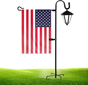 JOYSEUS Garden Shepherd Hook and Flag Stand 36 Inch, 1/2 Inch Thick Heavy Duty Rust Resistant Shephards Hooks Flag Holder for Solar Lights, Flag, Christmas Wreath and Christmas Decorations.