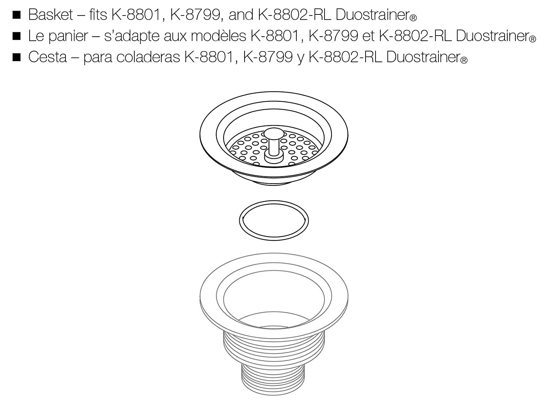 Kohler GP41398-CP Basket for Duo Strainer Chrome