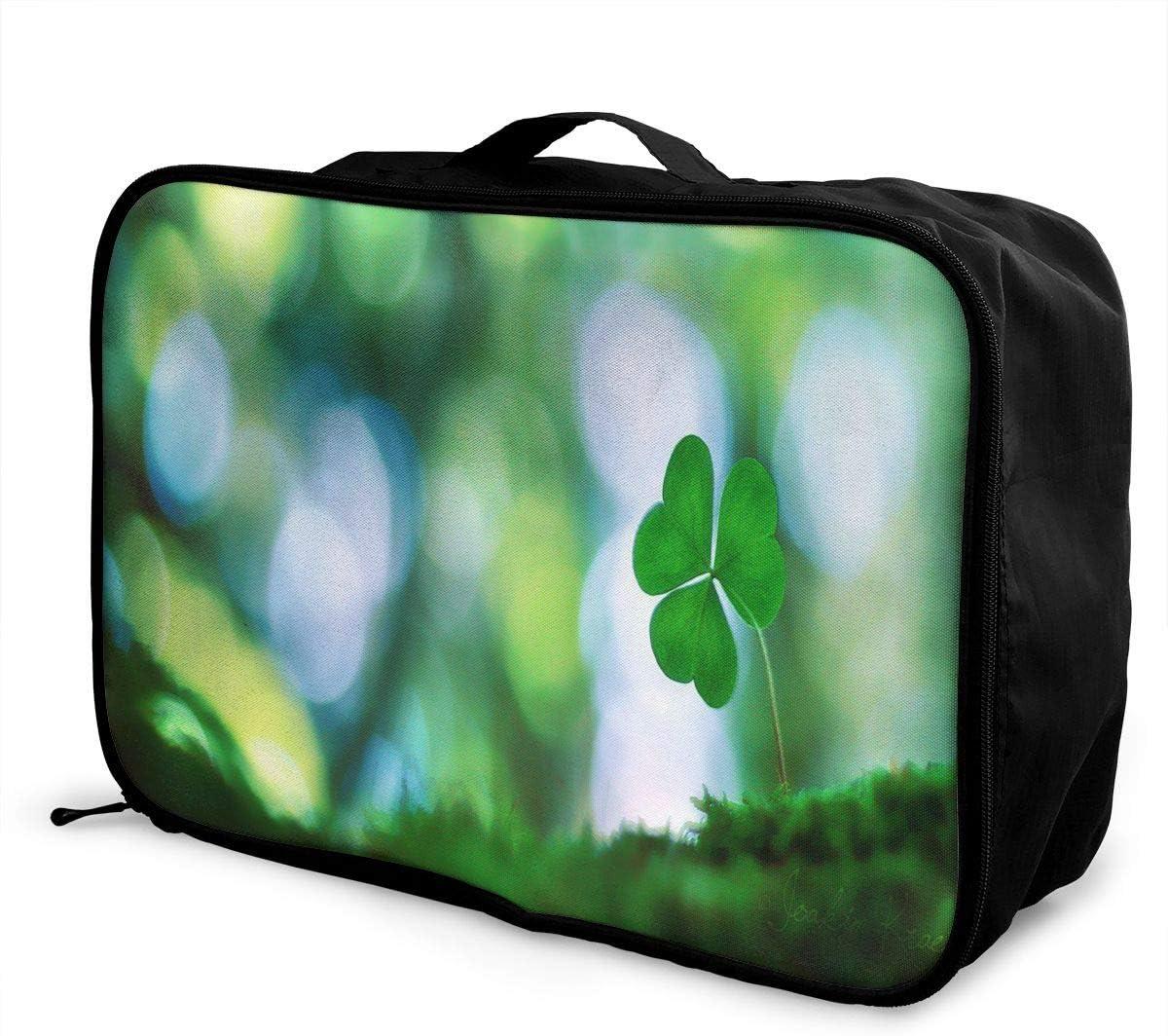 Travel Bags Sunshine Four Leaf Clover Portable Foldable Trolley Handle Luggage Bag