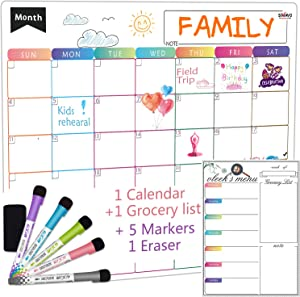 SIMAVO Dry Erase Calendar Whiteboard. Set of 2 Magnetic Calendars for Kitchen Refrigerator: Monthly Planner, Grocery List. with 5 Fine Point Markers & Eraser Included. Wall & Fridge Family Calendar