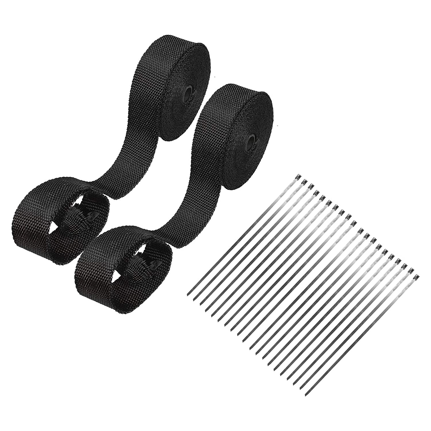 will lose color Superfastracing 2 Roll 2 50 Feet Black Fiberglass Exhaust Heat Wrap Roll For Motorcycle Manifold Header Pipe Heat Wrap Tape with Stainless Ties