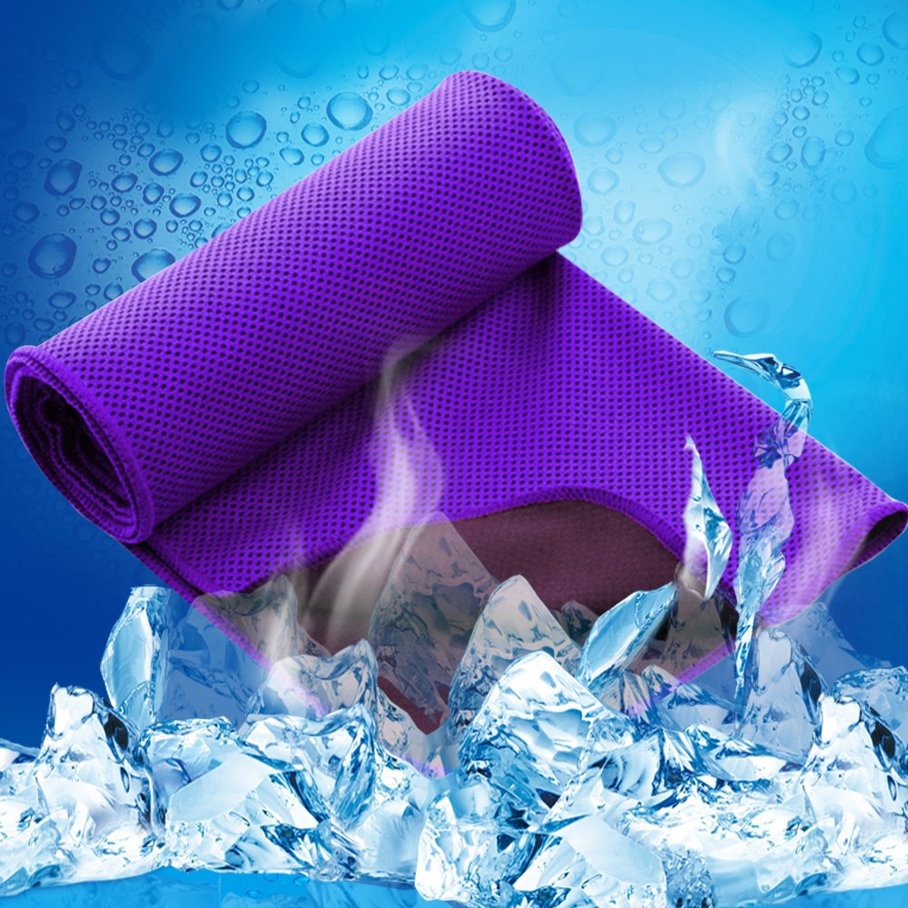 LESVIEO Evaporative Cooling Towels, Instantly Cold Soft Ice Towels for Sports, Fitness, Yoga, Pilates, Travel, Camping, Purple.