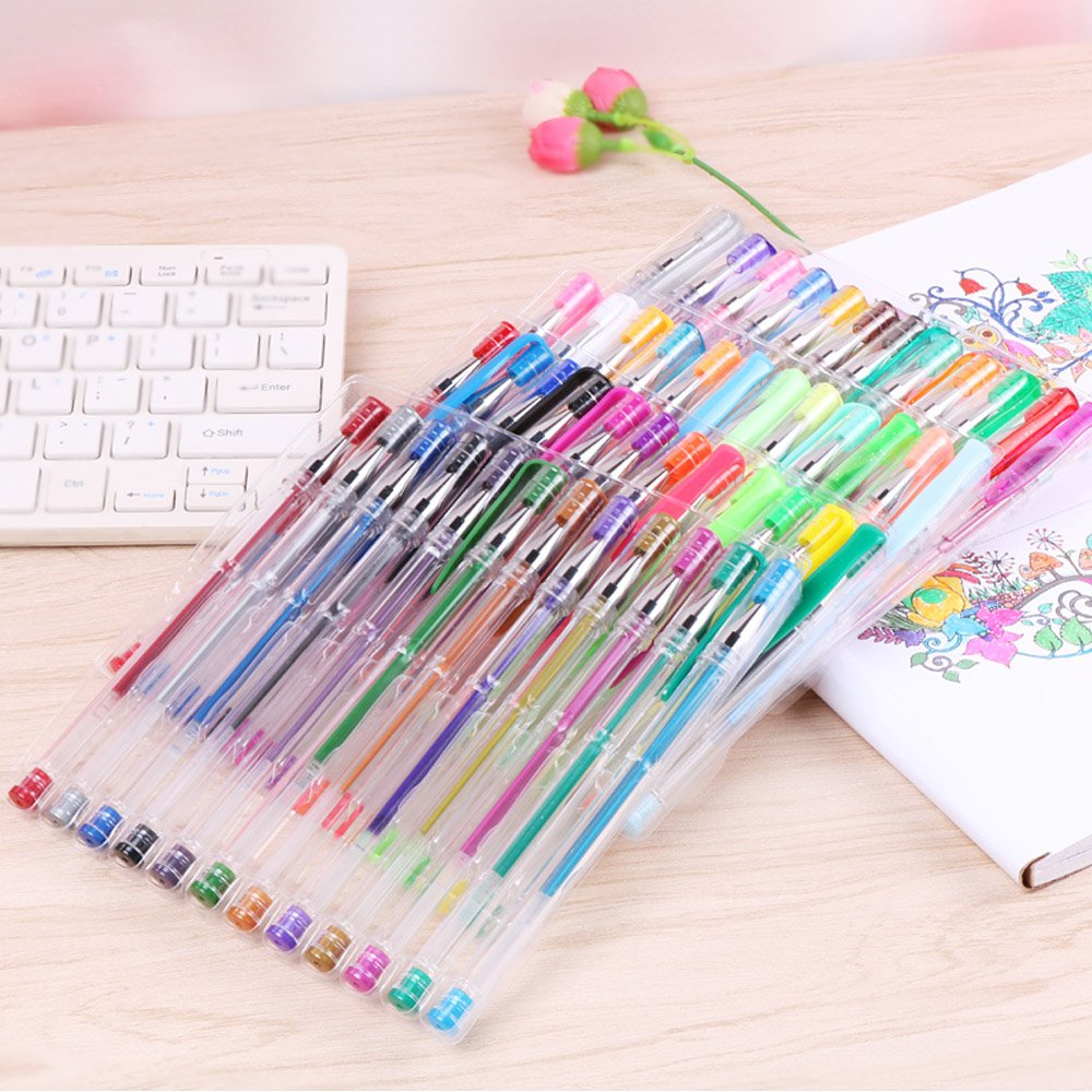 100 Pack Glitter Gel Pens Set, Southsun Color Art 100 colors Gel Pens for Adult Coloring Books Drawing Painting Writing