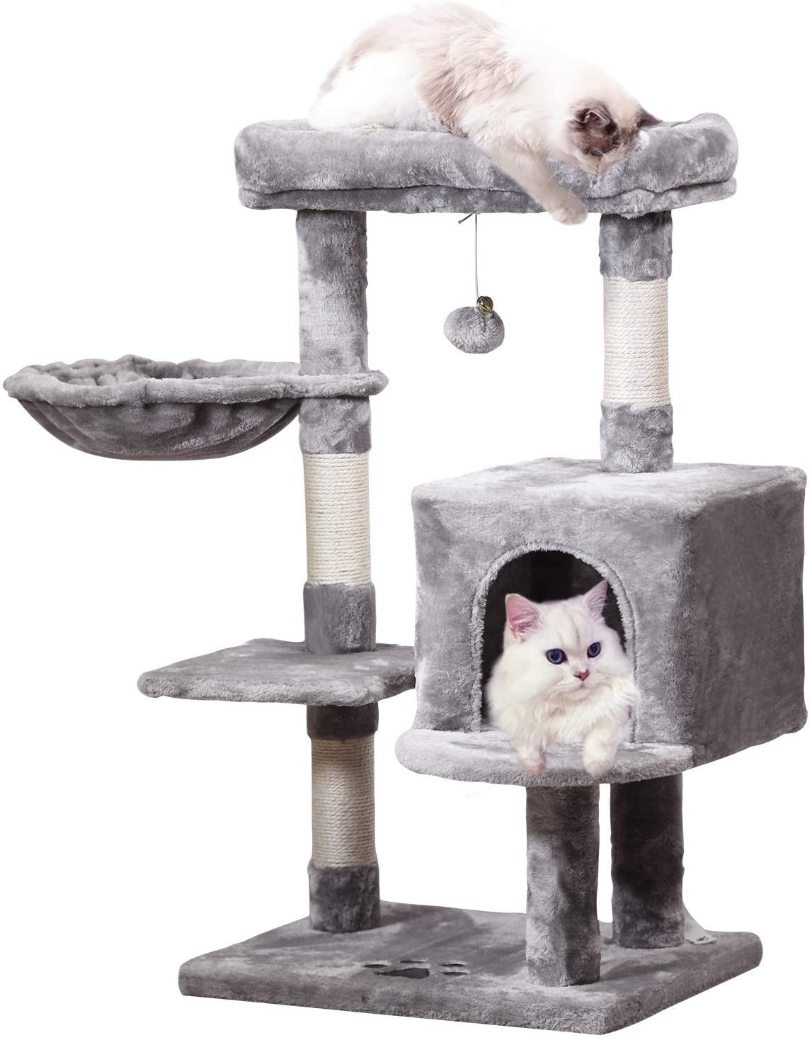 MQ Multi-Level Cat Tree Condo, Activity Center Cat Tower Furniture 36'' with Sisal-Covered Scratching Posts, Padded Plush Perch, Spacious Cat Cave & Basket for Small Kittens Adult Cats