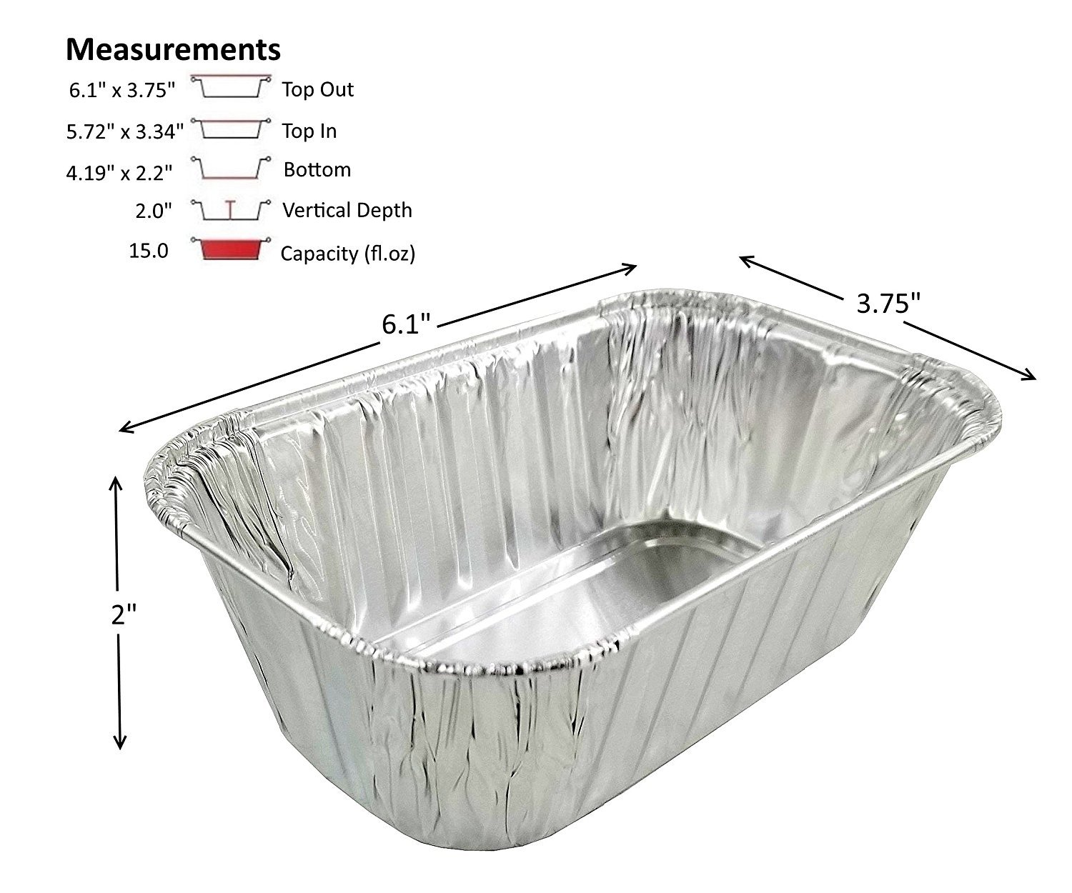 Pactogo Disposable 1 lb. Aluminum Foil Mini Loaf Pans with Clear Dome Lids (Pack of 100 Sets) by PACTOGO (Image #2)