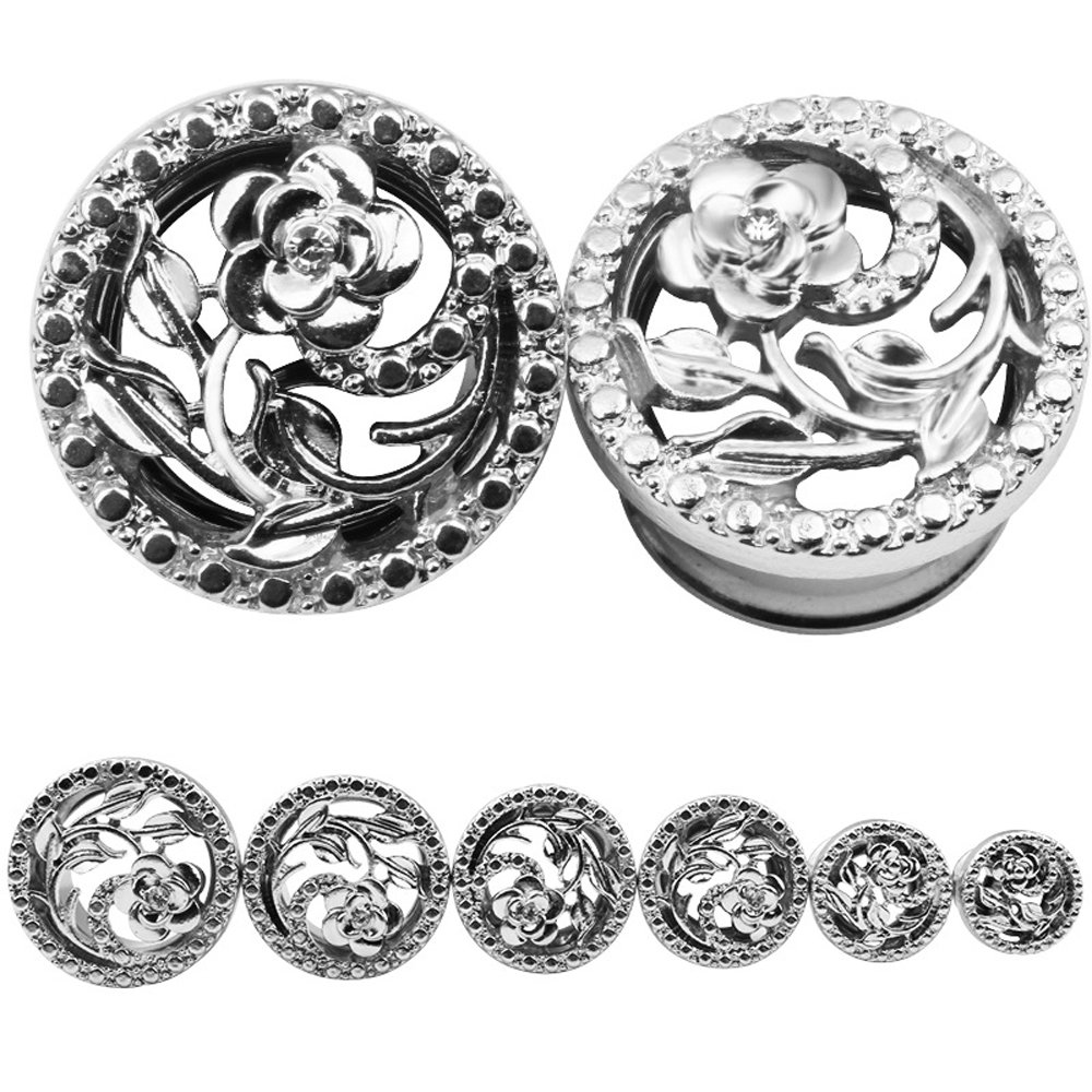 BODYA Unisex Stainless Steel Ear Tunnels Round Plugs with Hollow Flower Silver and Gold Piercing Jewelry, Two Pairs/4Pcs (Gauage:2g(8mm)) by BODYA (Image #4)