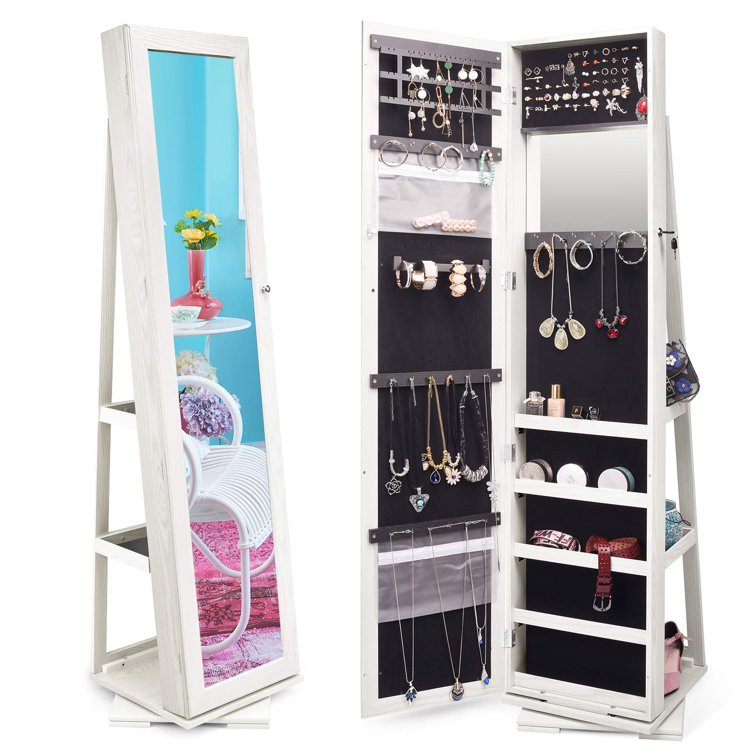 . TWING Jewelry Organizer Jewelry Cabinet 360 Rotating  Lockable Standing  Wall Jewelry Armoire with Full Length Mirror Large Jewelry Armoire