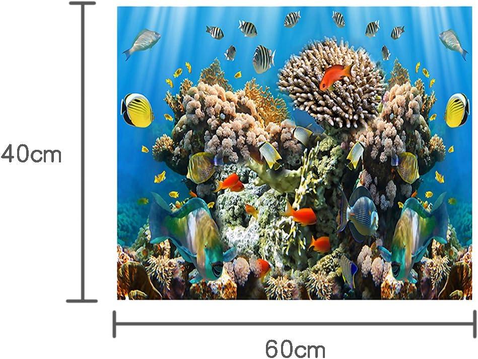 YOKOU Aquarium Background Sticker Wallpaper Fish Tank Backdrop Static Cling Colorful Coral and Fish