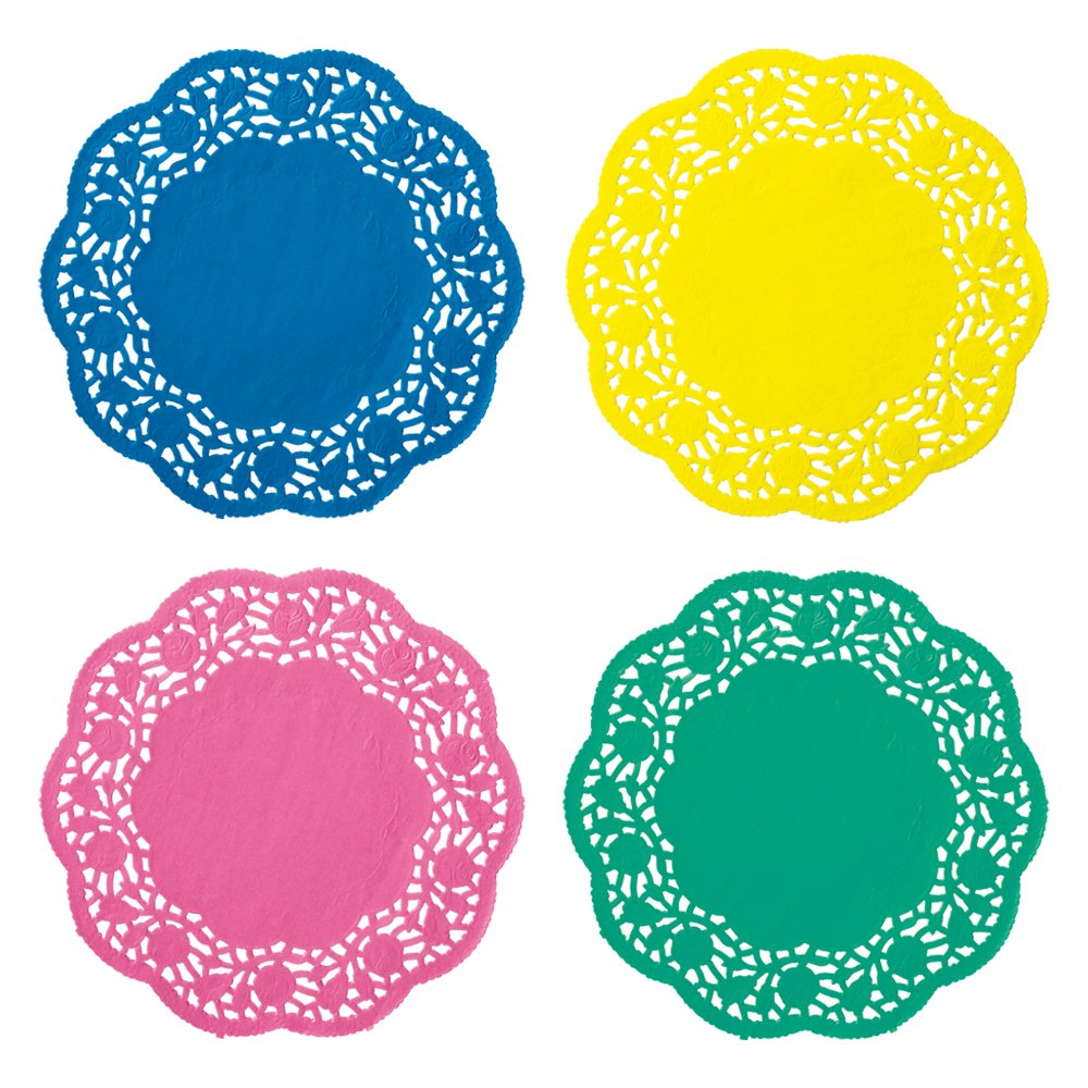 Hoffmaster 500100 4-Piece Lace Doily Assortment, 8'' Diameter (Case of 400) by Hoffmaster