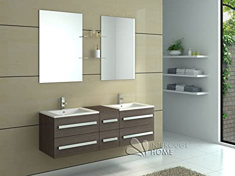 Interougehome set di mobili da bagno in legno con doppia vasche