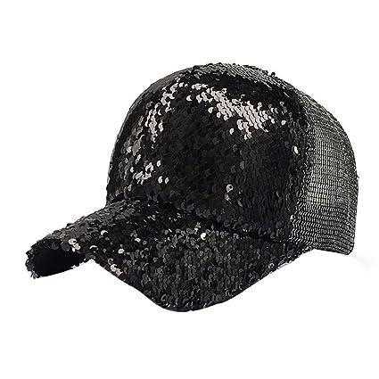 Malloom Mujer Cola de Caballo Gorras Lentejuelas Brillante Bun reticular Snapback Sombreros Sol Gorras (Negro