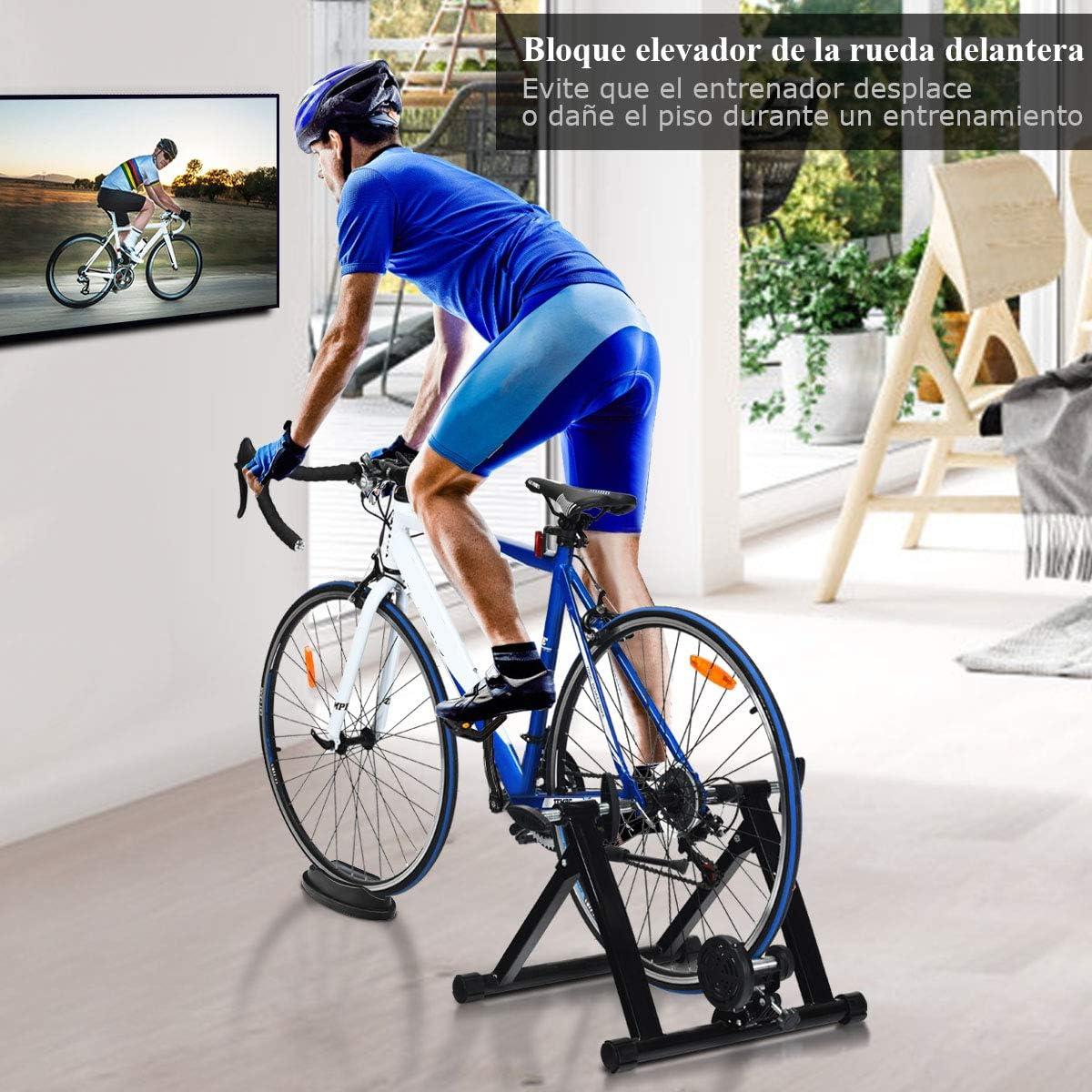 COSTWAY Bicicleta Est/ática de Acero Soporte Rodillo de Ciclismo Entrenamiento Palanca de Liberaci/ón R/ápida para Bicicleta y Sistema de Doble Bloqueo Negro