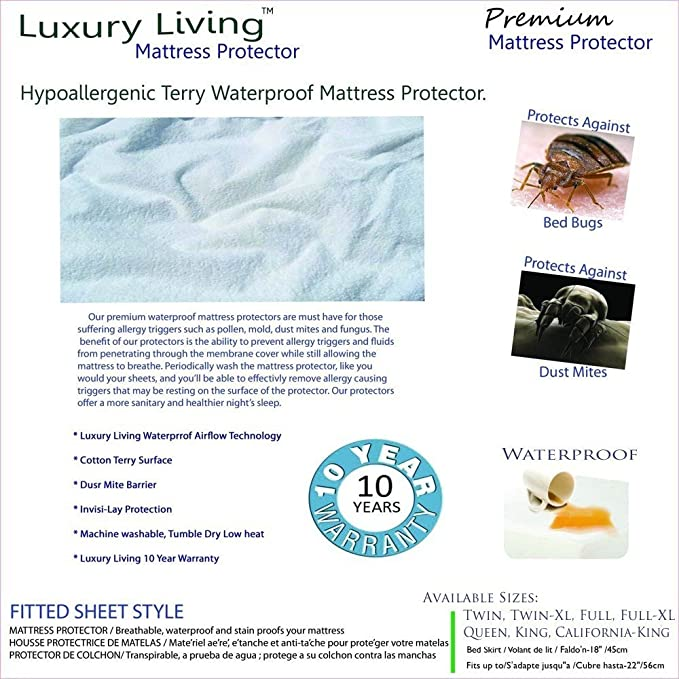 Amazon.com: Luxury Living Terry Waterproof Hypoallergenic Mattress Protector, Fitted Sheet Style, 18
