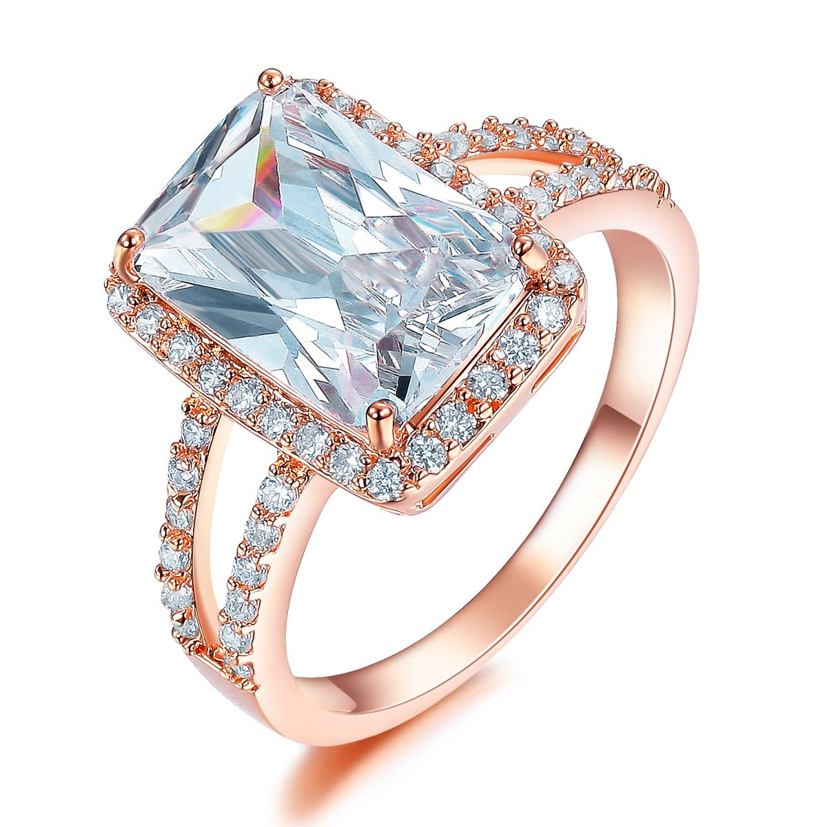 SHINCO Bella Lotus 4.5ct Radiant Cut CZ 18k Rose Gold Plated Vintage Wedding Band Engagement Rings Gifts for Graduation, Size 8