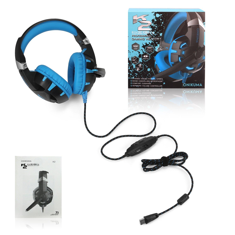 Gaming Headset-ONIKUMA Surround Sound PS4 Headphones Retractable Mic