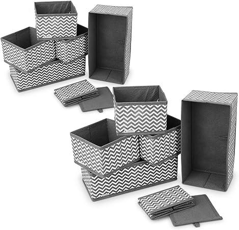 Navaris 12x Caja de Tela para almacenaje - Set de 12x Cubo Plegable Organizador de cajones - Cajas para Almacenamiento de Ropa Juguetes - Gris Blanco: Amazon.es: Hogar