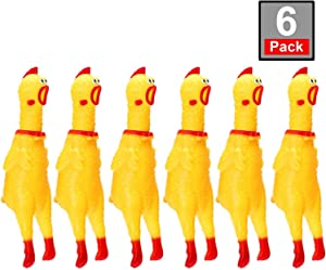 6 Pack Rubber Screaming Chicken Toy Yellow Rubber Squeaking Chicken Toy Novelty and Durable Rubber Chicken, Shrilling Decompression Tool Gadgets