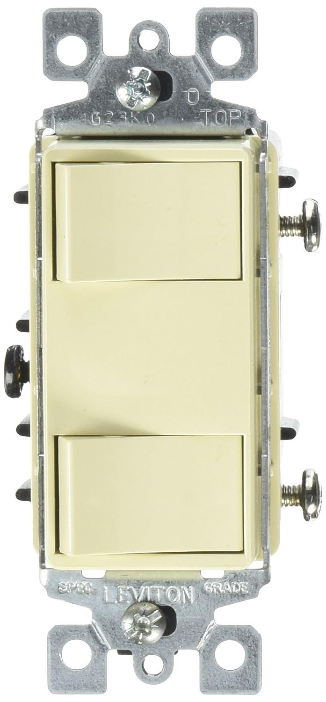 Leviton 1754 Ilw 15 Amp 120 Volt Individual Switches 2 Switch White Single Pole Toggle Combination Illuminated Dual Rocker Wall Light