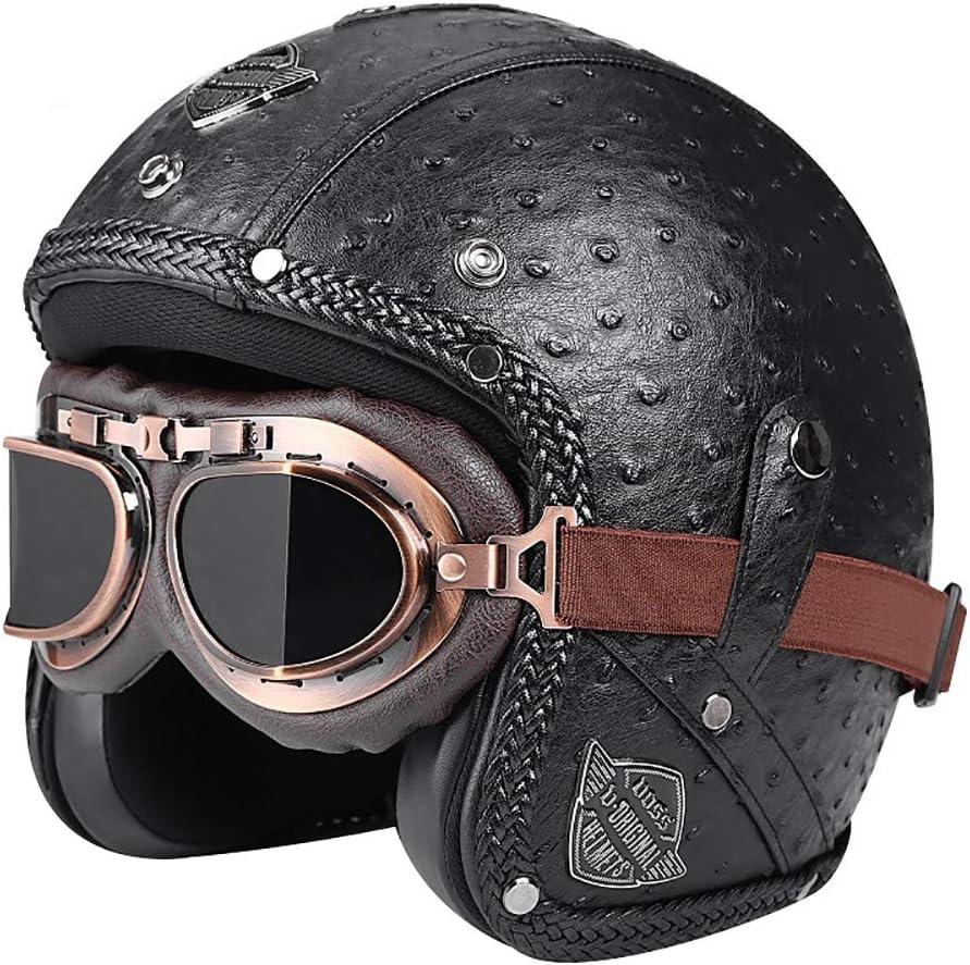 SXC Motorcycle Helmet, Universal de Motocicleta de Roller de Piel Sintética con Abierto Cara, Media Casco y Visera UV Gafas de Color Azul, Universal para Hombres y Mujeres