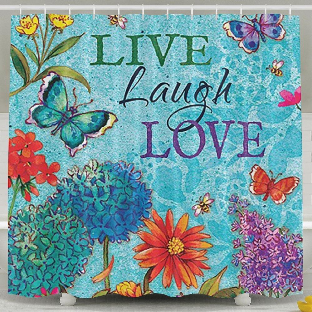 BINGO FLAG Funny Fabric Shower Curtain Live Laugh Love Waterproof Bathroom Decor With Hooks 60 X 72 Inch by BINGO FLAG