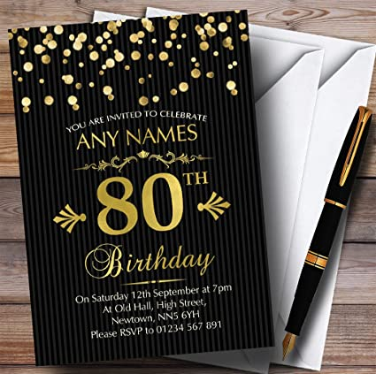 Image Unavailable Not Available For Color Gold Confetti Black Striped 80th Personalized Birthday Party Invitations
