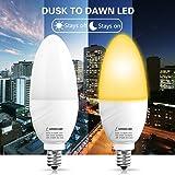 LOHAS Dusk to Dawn Light Bulb, E12 Candelabra Bulb, LED Light Sensor Bulb, 6W(60W Equivalent), Warm White 2700K, LED Night Lamp, Security Light, LED Candle Bulb, Auto on/off, Not Dimmable, 2 Packs