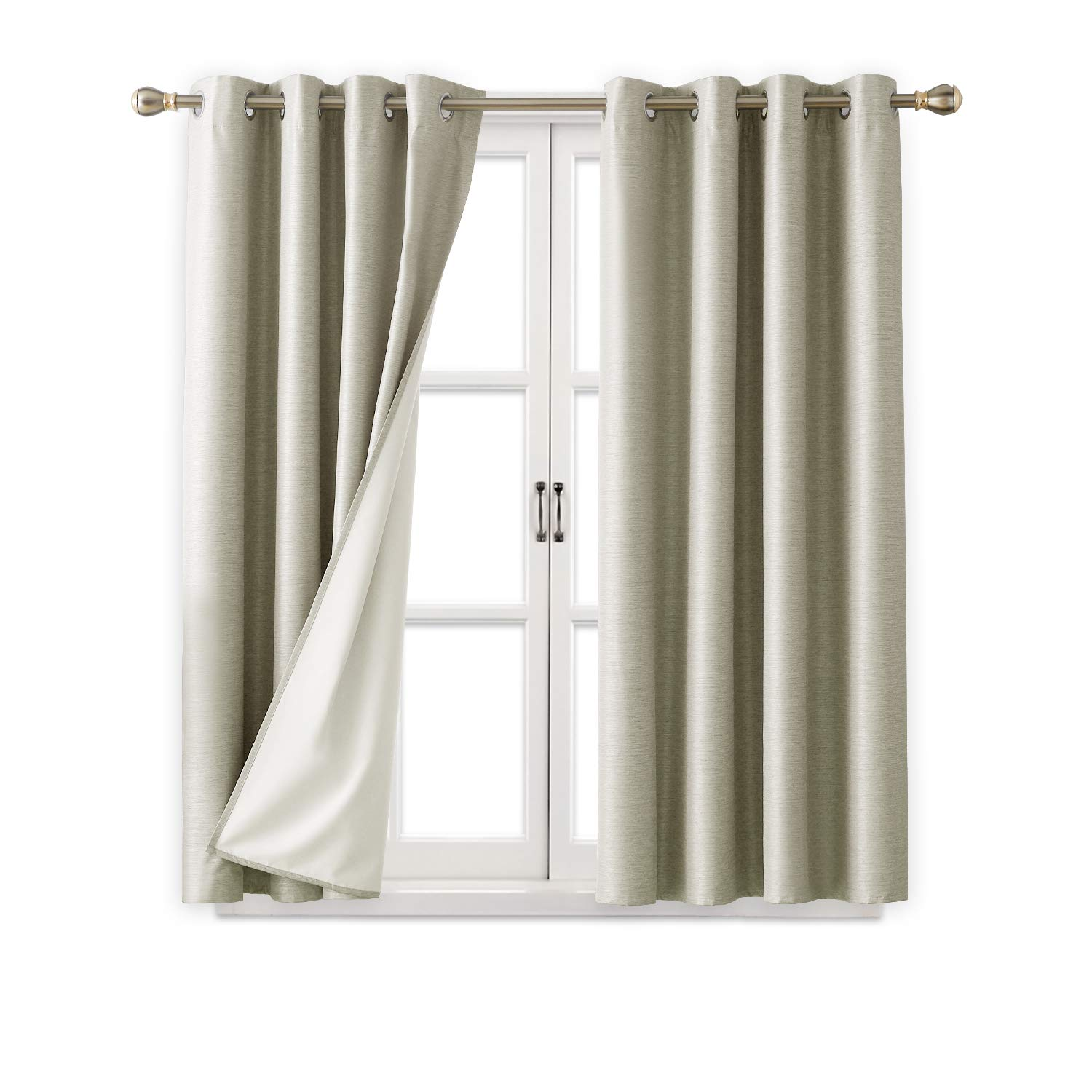 Black Room Darkening Curtains.Deconovo 100 Blackout Room Darkening Curtains Thermal Insulated Curtain Panel Drapes With White Coated Thermal Insulated Lining For Bedroom Beige 52w