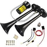 GAMPRO 150db 12V Air Horn, Chrome Zinc Dual Trumpet with Compressor for Any 12V Vehicles (Black)