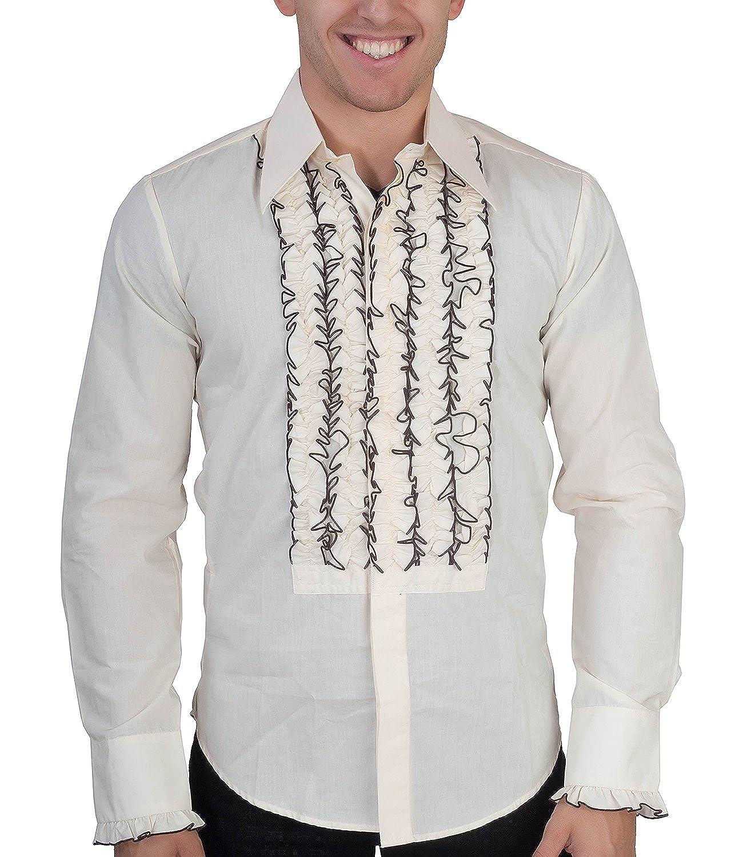 Chenaski Cremefarbenes Rüschenhemd 70ger Look